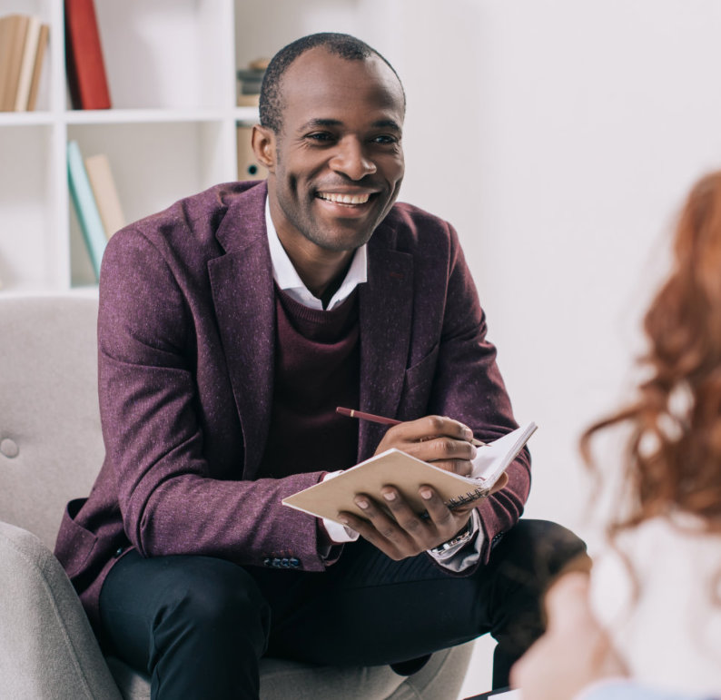 a therapist smiling